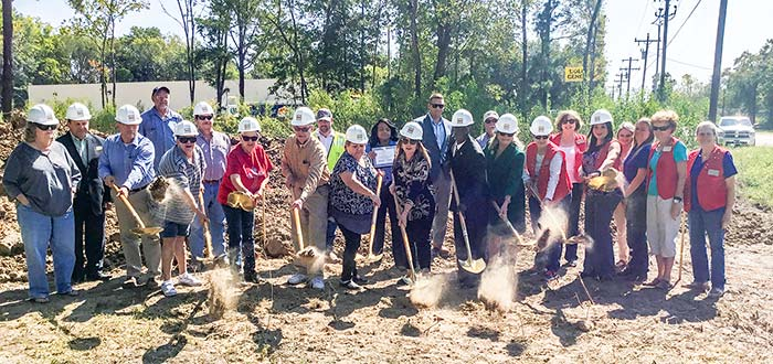 COMMUNITY CENTER — Groundbreaking ceremonies for the new Goodrich Community Center were held Wednesday with city officials, County Judge Sydney Murphy, representatives of the Polk County Chamber of Commerce and the general public in attendance. (Contributed Photo)
