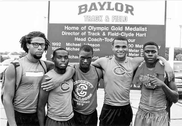 On Track to Regional—Houston County Panthers competing at the Baylor meet in Waco were (left to right) Ricktavius Lomax, Damien Richardson, Jamarquis Burton, Jordan Washington and Terrion Handsborough.