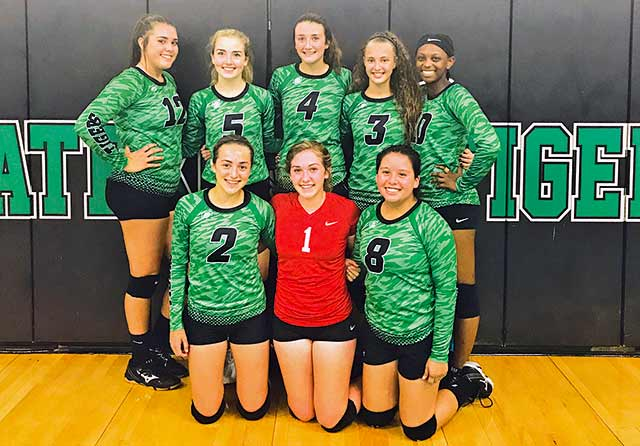 Latexo's varsity volleyball team consists of (front l-r) Madison Kelsey, Jordan Davenport, Diana Maza; (back l-r) Harli Brent, Bailey Ingle, Baylee Granberry, Alyssa Coad and Aliya Lane.